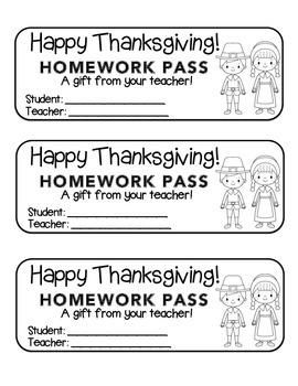 """Thanksgiving"" Pilgrim Friends - Homework Pass –Holiday FU"