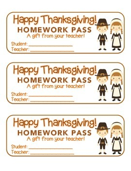 """Thanksgiving"" Pilgrim Friends - Homework Pass – Holiday F"