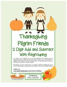 """Thanksgiving Pilgrim Friends Math"" 2 Digit Subtract & Add"