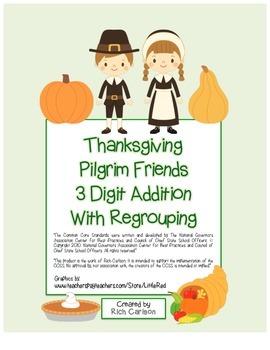"""Thanksgiving Pilgrim Friends Math"" 3 Digit Addition Regro"