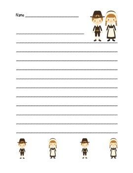 """Thanksgiving Pilgrim Friends"" Writing Sheets  (color & bl"