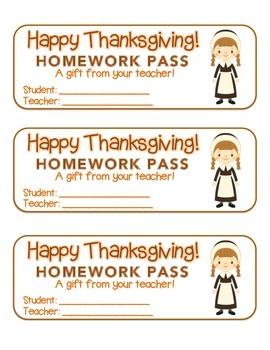 """""""Thanksgiving"""" Pilgrim Girl - Homework Pass – Holiday FUN!"""