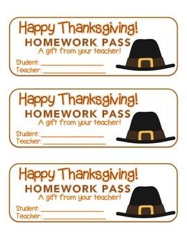"""""""Thanksgiving"""" Pilgrim Hat - Homework Pass –Holiday FUN! ("""