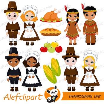 Thanksgiving Pilgrim Kids Digital Clipart