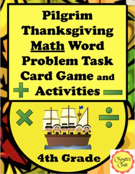 Thanksgiving Pilgrim Math Word Problems For 4th Grade: Com