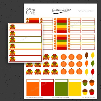 Thanksgiving Planner Stickers - Printable Planner Stickers