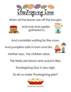 Thanksgiving Pocket Chart Poem