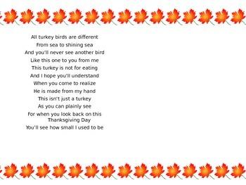 Thanksgiving Poem- Turkey Handprint