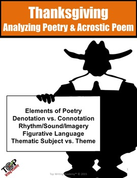 Thanksgiving Activities Poetry Analysis & Acrostic Poem Wr