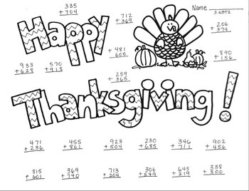 Thanksgiving Printable 3NBT2 Adding 3 Digit Numbers  w/ Re