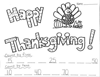 Thanksgiving Printable Coloring Worksheet Counting by Five