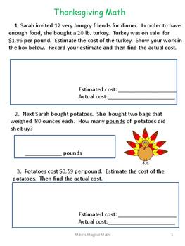 Thanksgiving Problem Solving Sample