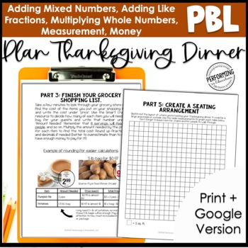 Thanksgiving Project Based Learning for 4th Grade