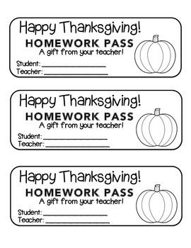 """Thanksgiving"" Pumpkin - Homework Pass –Holiday FUN! (blac"