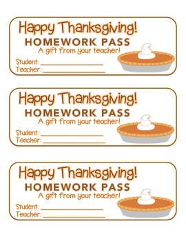 """""""Thanksgiving"""" Pumpkin Pie - Homework Pass – Holiday FUN!"""