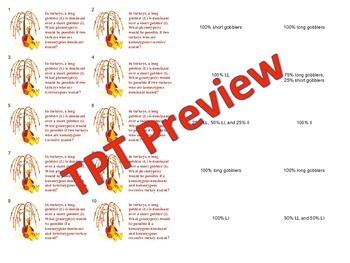 Thanksgiving Punnett Squares Task Cards Genetics Reg, Inco