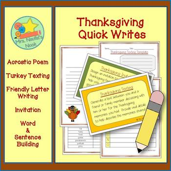 Thanksgiving Writing - Acrostic Poem, Text Message, Friend