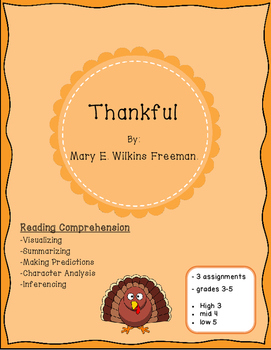 Thanksgiving Reading Comprehension Passage: Thankful by Ma