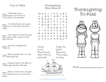 Thanksgiving Reading Comprehension Trifold