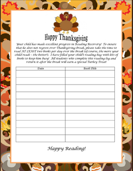 Reading Recovery Thanksgiving Reading Log