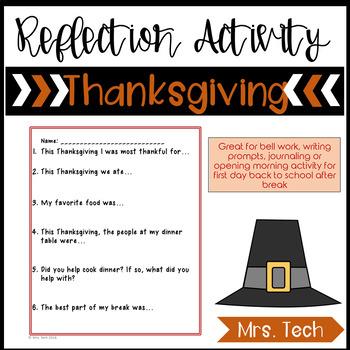 Thanksgiving Reflections (No Prep) FREEBIE