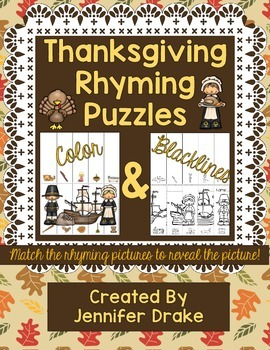 Thanksgiving Rhyming Puzzles  Color & Blackline Mats