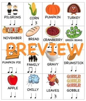 """Thanksgiving"" Rhythm Flashcards Grades 1-3"