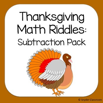 Thanksgiving Subtraction Math Riddles