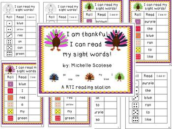 Thanksgiving Roll and Read Sight Words