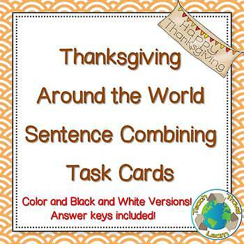 Thanksgiving Sentence Combining Task Cards