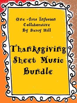 Thanksgiving Sheet Music Bundle: 4 Simple Songs
