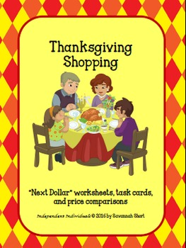 "Thanksgiving Shopping - Math worksheets and ***BONUS*** ""N"