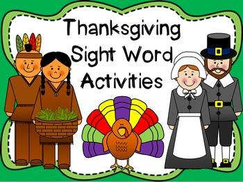 Thanksgiving Sight Word Activities