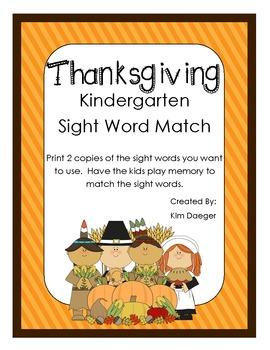 Thanksgiving Sight Word Match