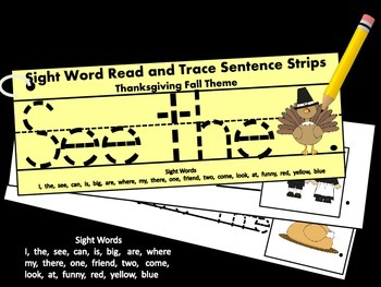 Thanksgiving Themed Read and Trace Sight Word Sentence Str