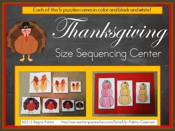 Thanksgiving Size Sequencing Math Center
