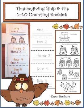 Thanksgiving Snip & Flip Emergent Reader Counting Booklet
