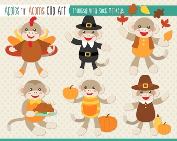 Thanksgiving Sock Monkeys Clip Art - color and outlines