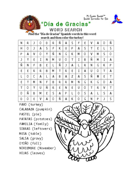 Thanksgiving Spanish Word Search