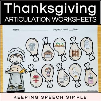Thanksgiving Speech No Prep Articulation Worksheets