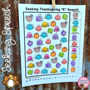 Thanksgiving Speech Therapy Seeking Activity {articulation}