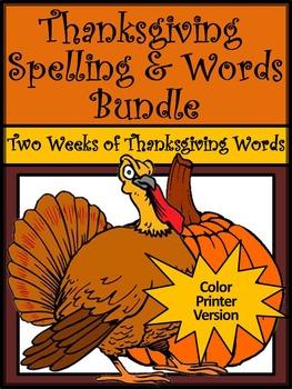 Thanksgiving Language Arts Activities: Thanksgiving Spelli