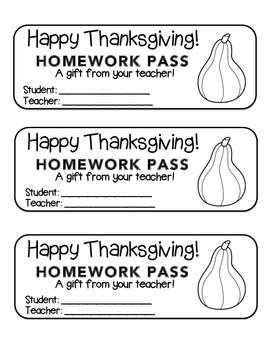 """Thanksgiving"" Squash - Homework Pass –Holiday FUN! (black"