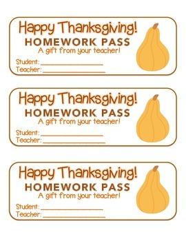 """Thanksgiving"" Squash - Homework Pass – Holiday FUN! (full"