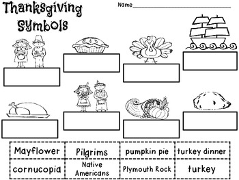 Thanksgiving Symbols Labeling FREEBIE!!