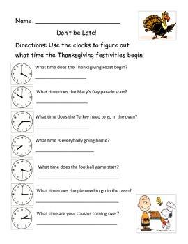 Thanksgiving--Telling Time