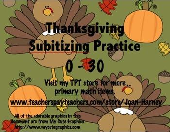 Thanksgiving Tens Frames 0-30 Subitizing Practice...Fall,