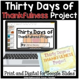 Thanksgiving Thankfulness Daily Journal for November: Prin