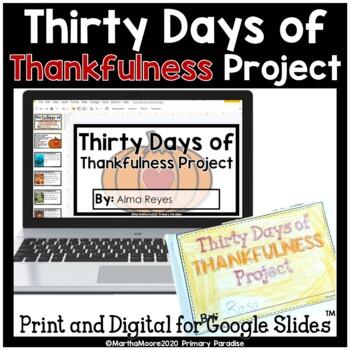 Thanksgiving Thankfulness Daily Journal for November: Prin