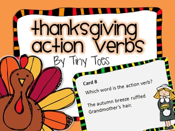 SCOOT Thanksgiving Theme Action Verb Game task cards meets